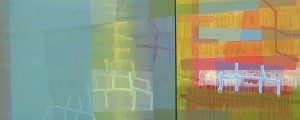 On Flower Wreath Hill III mixed media on joined panels 24 x 58 $4900 2014
